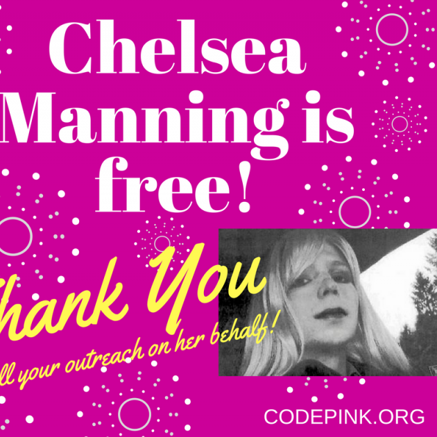 Pink background with photos of blonde woman and words Chelsea Manning is free! Thank  you for all your outreach on her behalf!