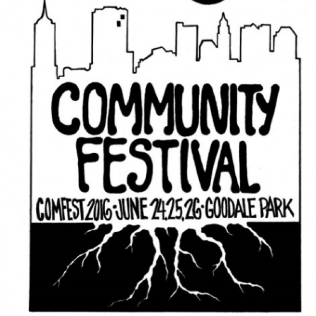 Comfest 2016 logo - a skyline with tree roots