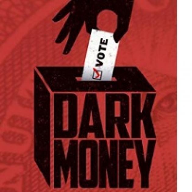 Red background with watermark like dollar bill a drawing of hand putting a paper that says VOTE in a box that says Dark Money on the side