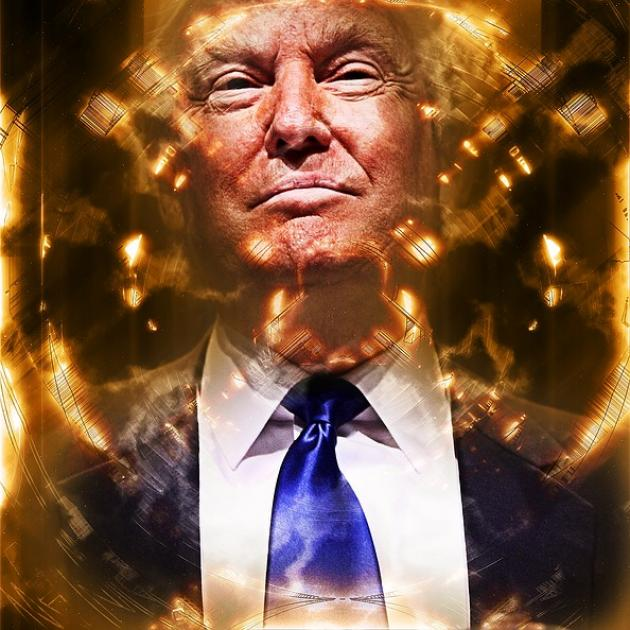 Donald Trump in suit with swirly gold around his head