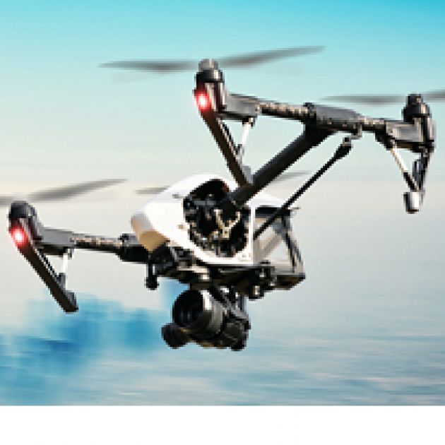 Drone flying in the sky, three propellers