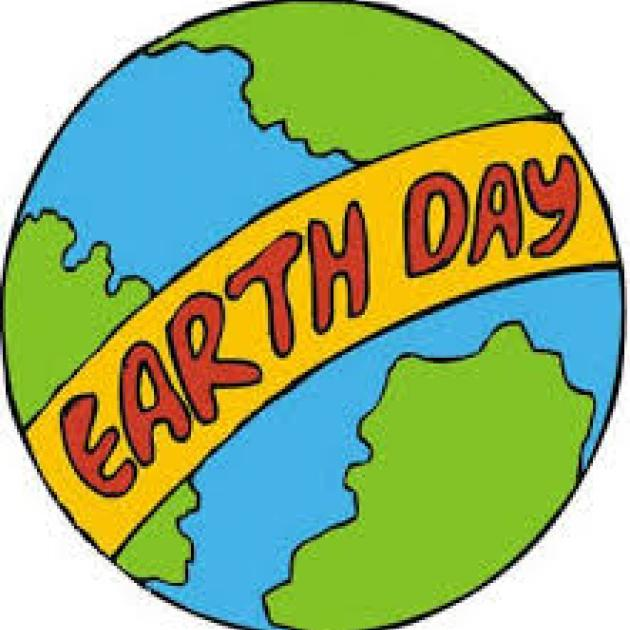 Earth with Earth Day banner