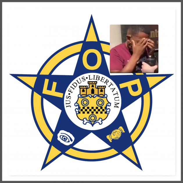 FOP logo and Shannon Hardin after being maced