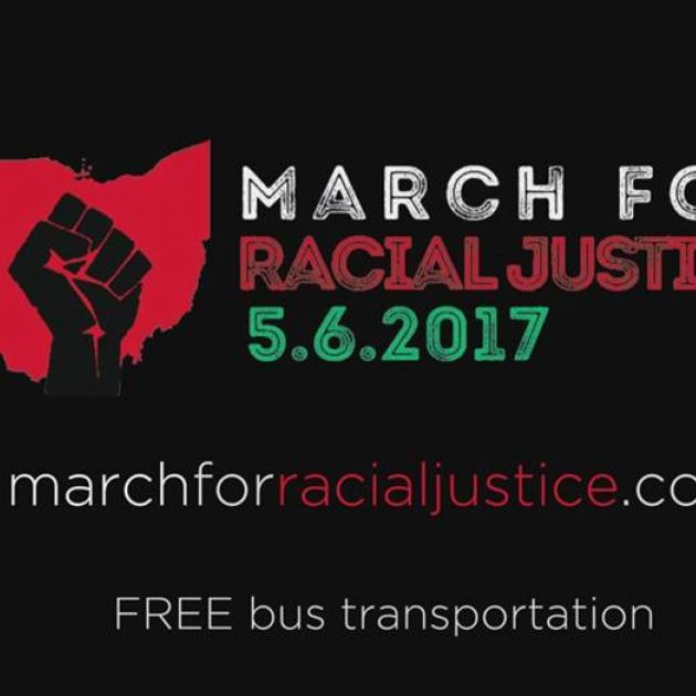 Fist and state of Ohio with words March for Racial Justice