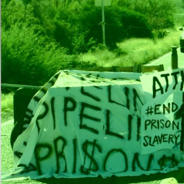 Banner about stopping prison slavery