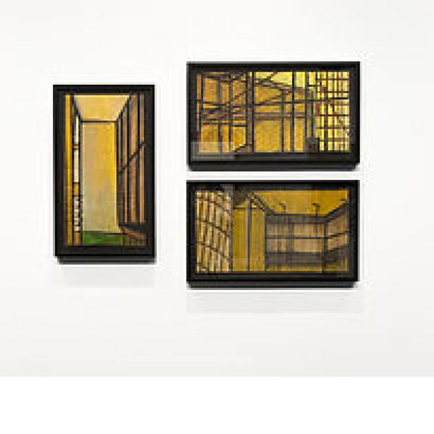 Three pictures of skeletal looking rooms