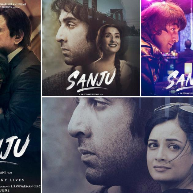Several squares of photos of close-up of man's face and the word Sanju