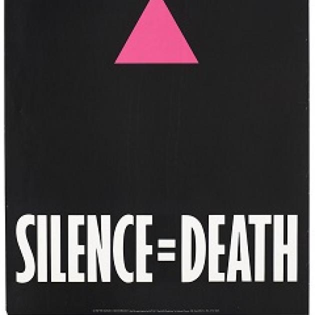 Pink triangle on black background with words Silence equals death