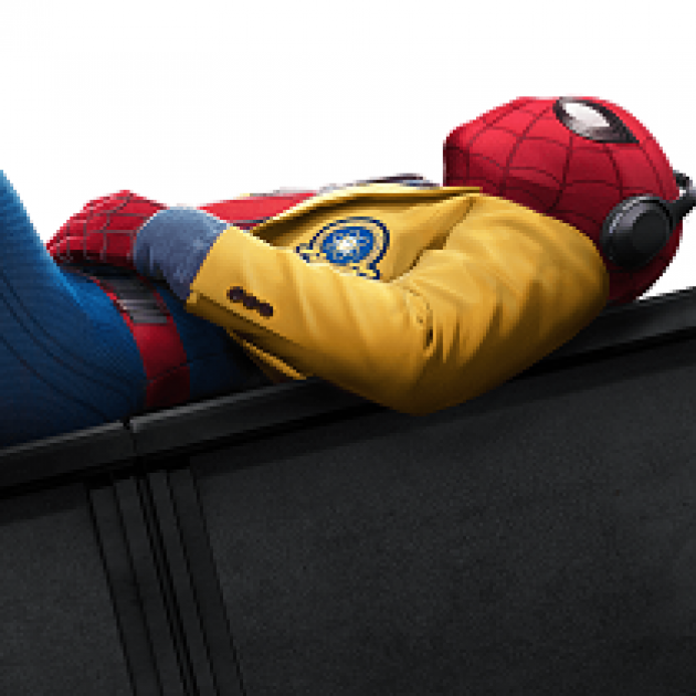 Spiderman laying on his back
