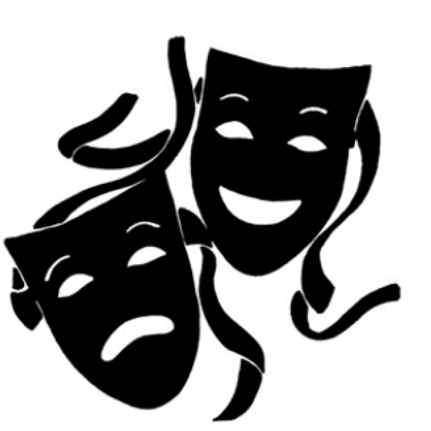 Drawing of two masks, one smiling, one frowning