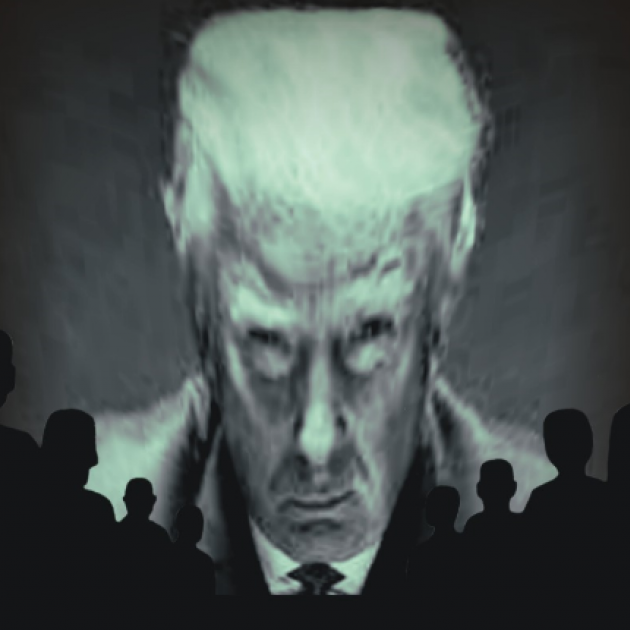 Trump head on a screen like a monster with silhouettes of people watching
