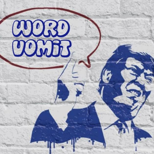 "Drawing of Trump on brick wall with word balloon saying ""Word Vomit"""