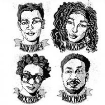Four faces of black people, two women, two men with words BlackPride4 under each one