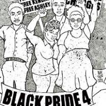 Sketch of four young black people with fists in air and words BlackPride4
