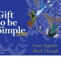 Blue backgrouond with hummingbird art at a flower and words Gift to be Simple, and words Come together break through