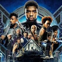 Lots of black people's faces and bodies posing like a movie poster wearing superhero type clothes against a blue background that looks high tech