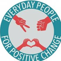 Round blue circle with words everyday people for positive change going around inside a ring in white letters, inside the circle a red hand doing a peace sign, a red hand making and fist and two red hands creating a heart with their fingers together