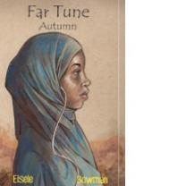 Drawing of a black young woman wearing a blue burqa and the words Far Tune Autumn