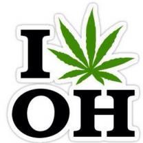 A big I then a marijuana leaf and below the letters OH