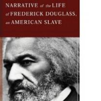 Book cover with rust colored top and black and white photo of Frederick Douglass below, with title of book