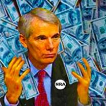 White man with gray hair and a suit with an NRA button on with dollars all around him
