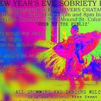 Psychedelic bright hot pink, yellow and blue swirly colors and a Native man dancing with word New Year's Eve Sobriety Pow Wow