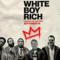 Movie poster from White Boy Rick with a photo of mostly black gangsters and a young white boy with an older man's white face superimposed on top of his (Richard Cordray's face) and the words White Boy Rick with the k turned into an H to say White Boy Rich