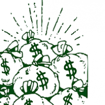 Cartoon of lots of bags with dollar signs on them