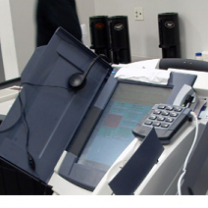 large free-standing touchscreen machine for voting