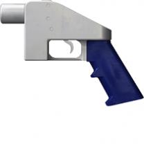 Strange looking bright blue and white handgun