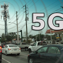 Words 5G with street scene with cars and a cell tower