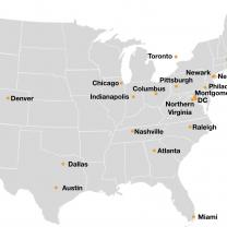 Map of US with spots where they are considering putting Amazon HQs