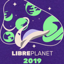 Purple background and drawings of lots of stars and planets and the words Libreplanet 2019