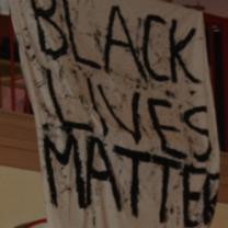 Banner saying Black Lives Matter