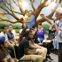 Bernie Sanders talking to young people