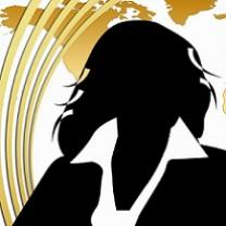Black silhouette of a woman in a suit against a gold map of the US with five gold lines curving up the left side