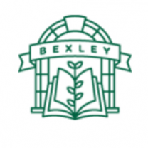 A line drawing of a doorway with a rounded top a book in front with a tree growing out of it and a banner going across saying Bexley