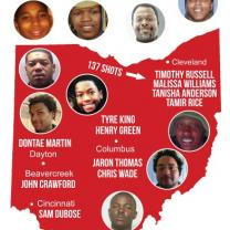 A red map of Ohio with faces of black men shot by police and their names