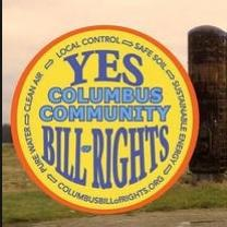 Columbus Community Bill of Rights in blue on yellow circle with YES at the top