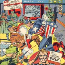 Comic book with Captain America punching a Nazi