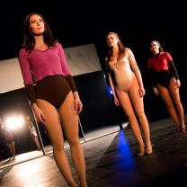 "Maggie (Brooke Walters, left) sings ""At the Ballet"" with fellow auditioners Sheila (Kaitlin Descutner, center) and Bebe (Chrissy Stridsberg) in a scene from Short North Stage's production of A Chorus Line"