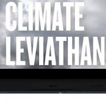 Clouds in the background and the words Climate Leviathan