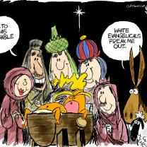 Cartoon of baby Jesus only its Trump in the manger