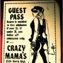 Guest pass from Crazy Mama's with a picture of a woman in leather