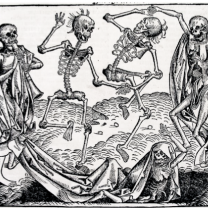 Black and white drawing of scary medieval skeletons