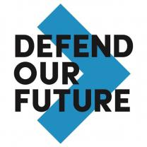 Big blue arrow head pointing right with black words on top Defend our future