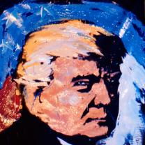 Painting of Trump's face frowning