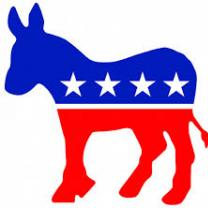 Red white and blue donkey Democrat symbol