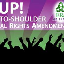 The words Rise Up! Should-to-shoulder equal rights amendment against a purple background and a silhouette of people below raising their hands and fists in the air