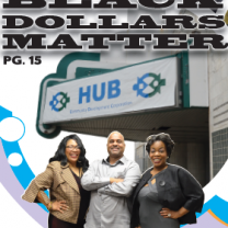 Three people standing in front of HUB
